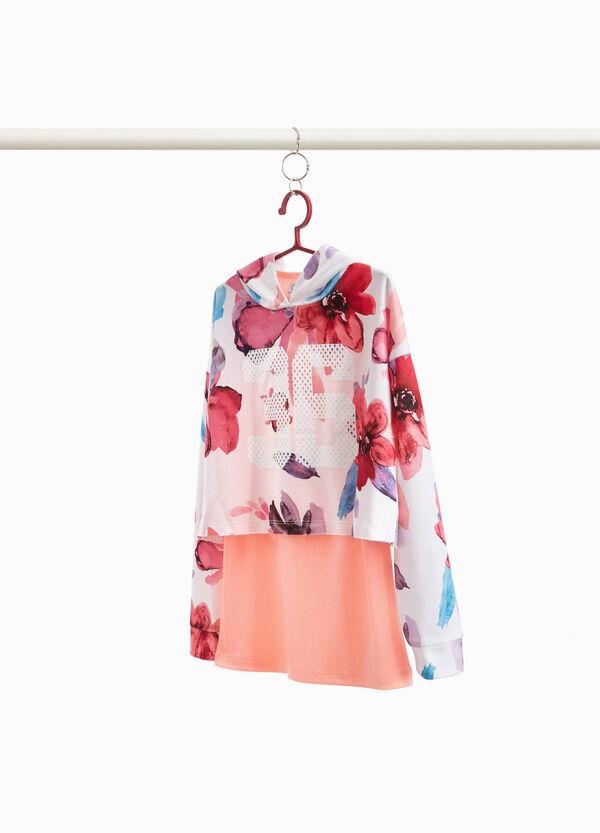 Sweatshirt Stretch Blumenmuster mit Aufdruck
