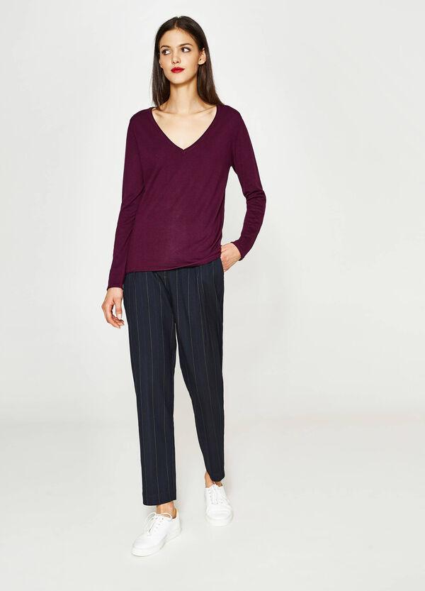 Pullover mit V-Ausschnitt aus Viskose | OVS