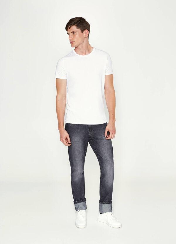 Jeans Straight Fit mit Used-Effekt mit Umschlag