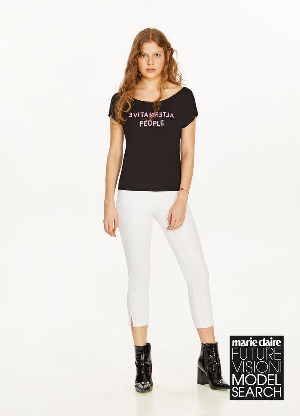 Crop-T-Shirt mit Flügelärmeln