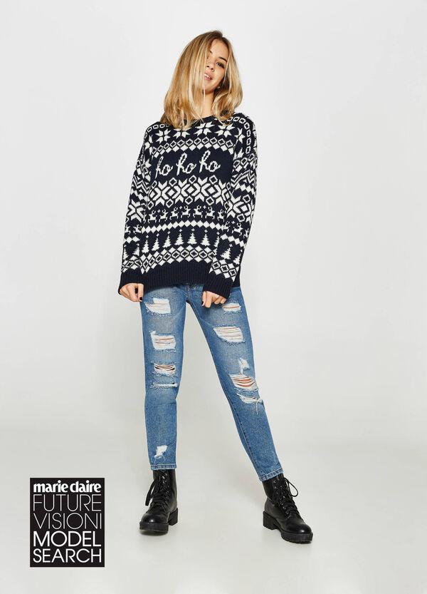 Pullover geometrisches Muster Weihnachten