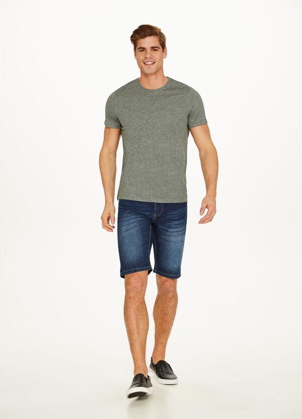 T-Shirt melierter Baumwoll- und Leinenmix