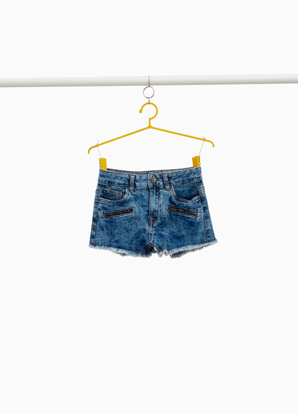 Jeans-Shorts Effekt-Färbung mit Zipper