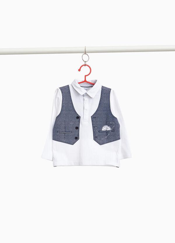 Polo-Shirt reine Baumwolle mit Aufdruck Weste