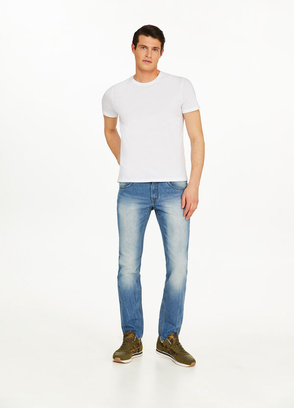 Jeans Slim Fit Effekt-Färbung mit entfärbter Optik