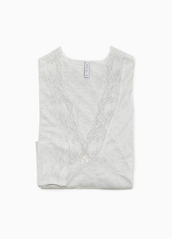 Pyjama-Shirt reine Viskose mit Spitze