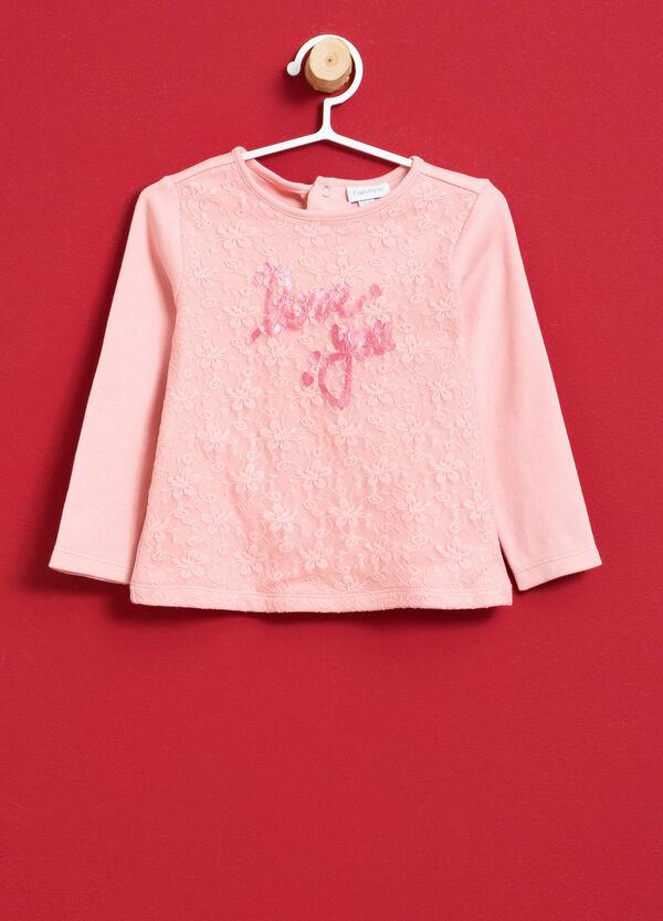 T-Shirt reine Baumwolle Spitze und Aufdruck