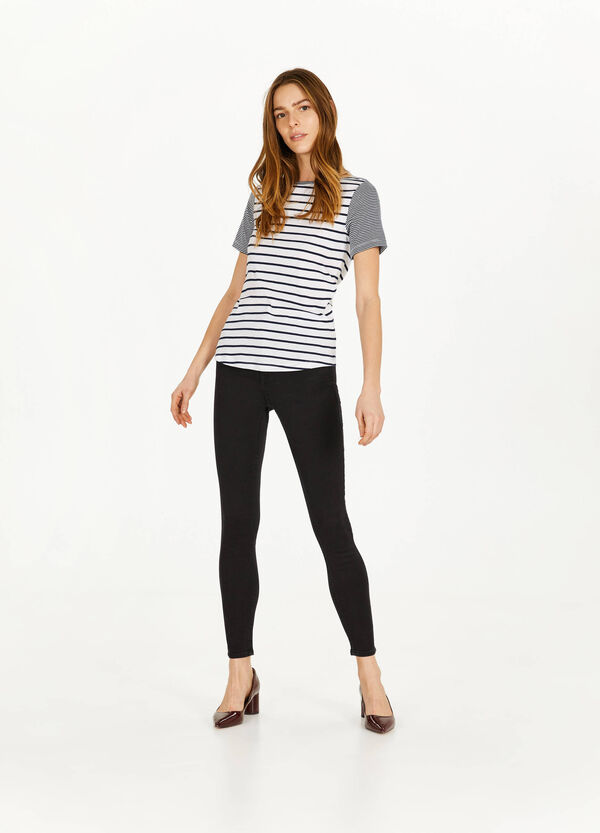 Stretch-Jeans Skinny Fit mit hohem Bund