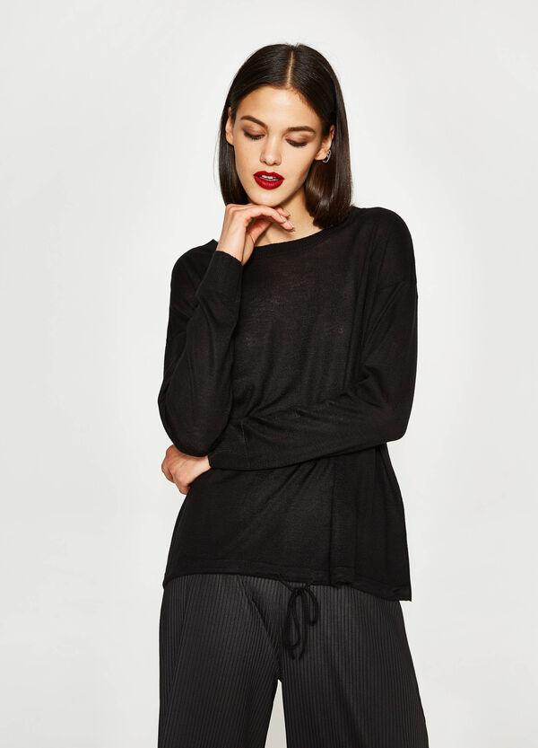 Pullover aus Viskose mit Kordelzug am Saum | OVS