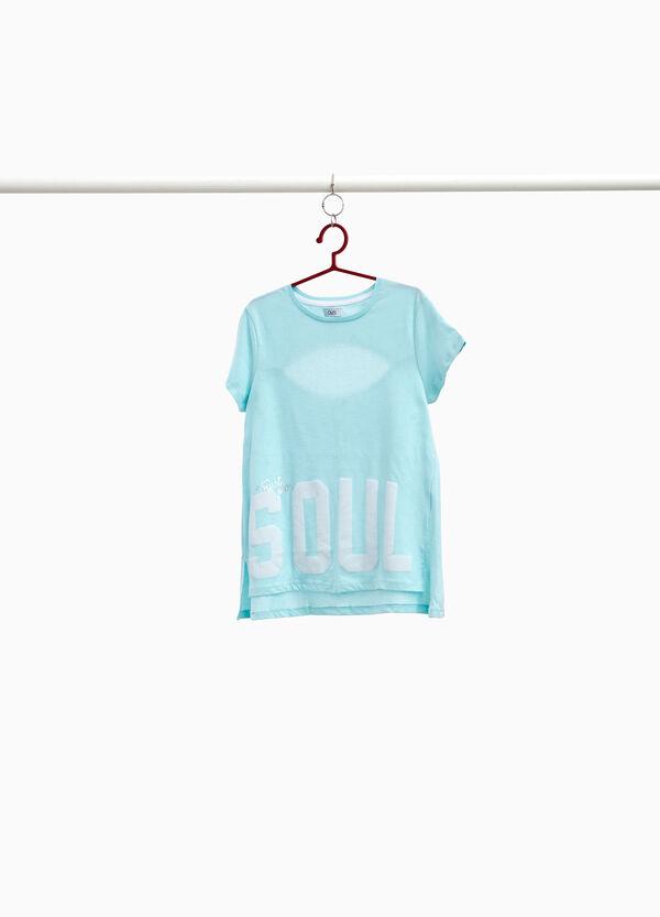 T-Shirt Baumwolle mit Öffnungen und Lettering