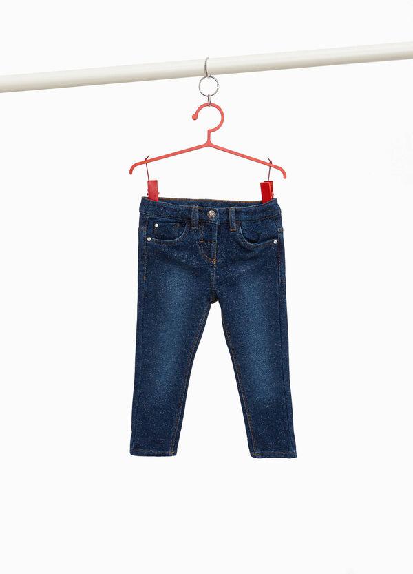 Stretch-Jeans mit Lurex und Stickereien