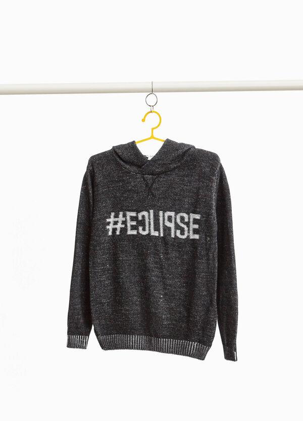 Pullover meliert Aufdruck Lettering