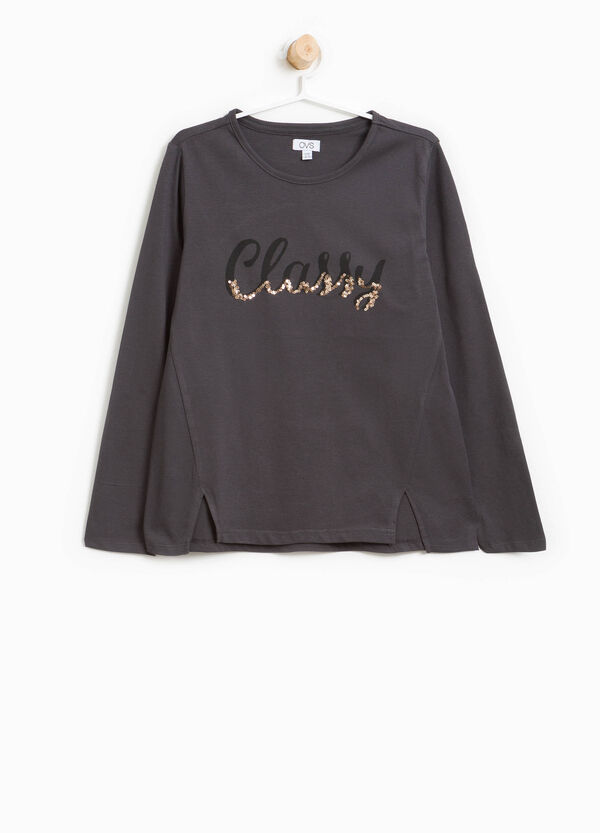 T-Shirt Baumwolle Buchstabenaufdruck Pailletten | OVS