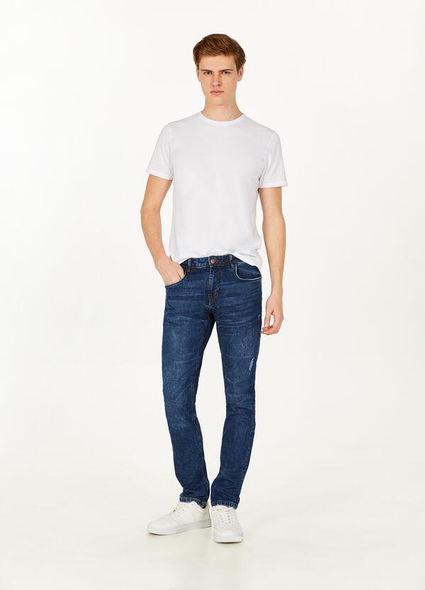 Stretch-Jeans Slim Fit Used-Effekt mit Whiskering