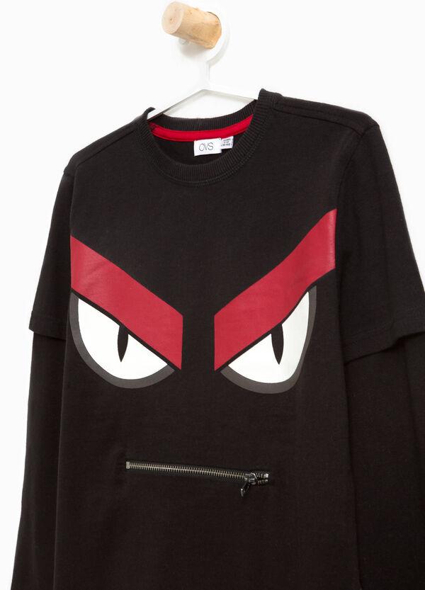 T-Shirt reine Baumwolle Aufdruck und Reißverschluss | OVS