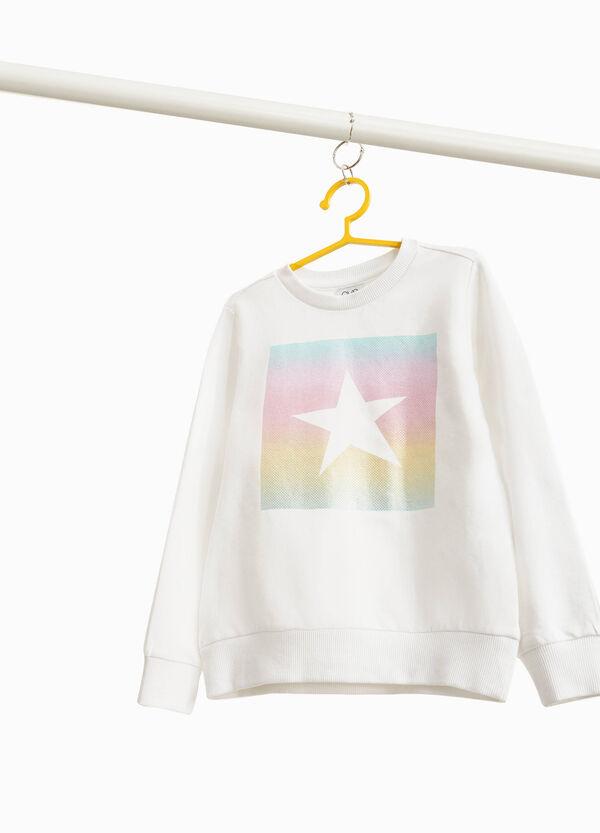 Sweatshirt Baumwollstretch Aufdruck mit Stern