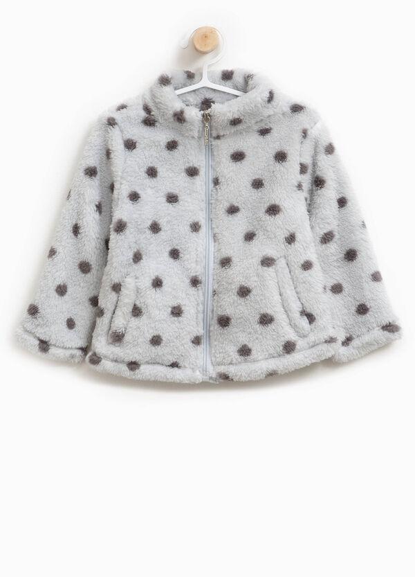 Sweatshirt aus Teddy mit Tupfenmuster und Reißverschluss