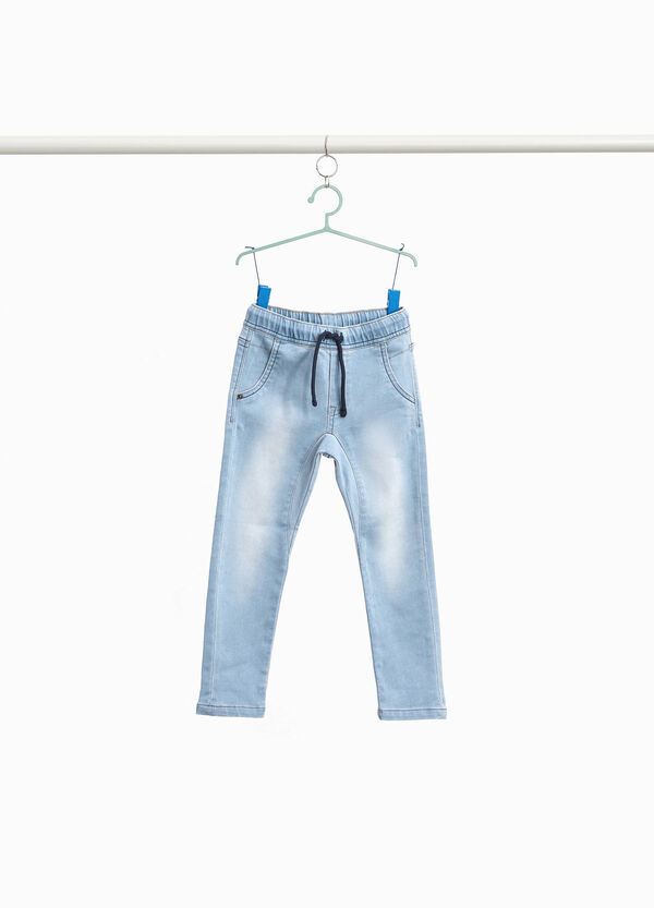 Jeans Jogger Fit Washed-out mit Kordelzug