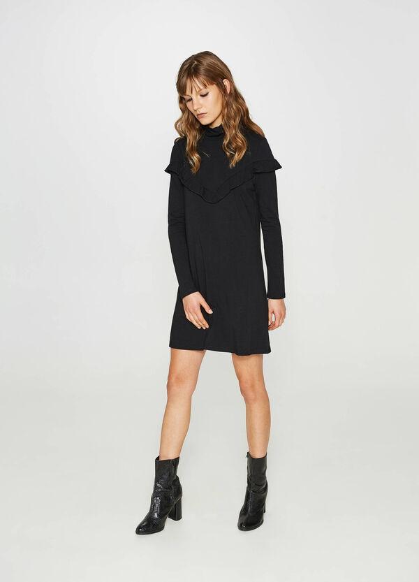 Kleid aus Baumwollstretch mit Volant | OVS