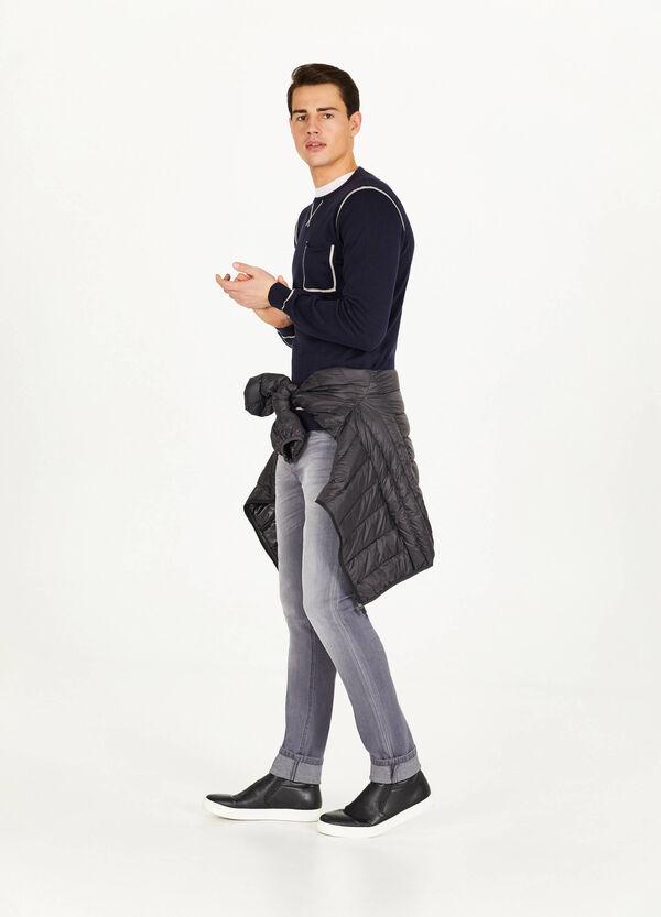 Pullover aus reiner Baumwolle mit Profil
