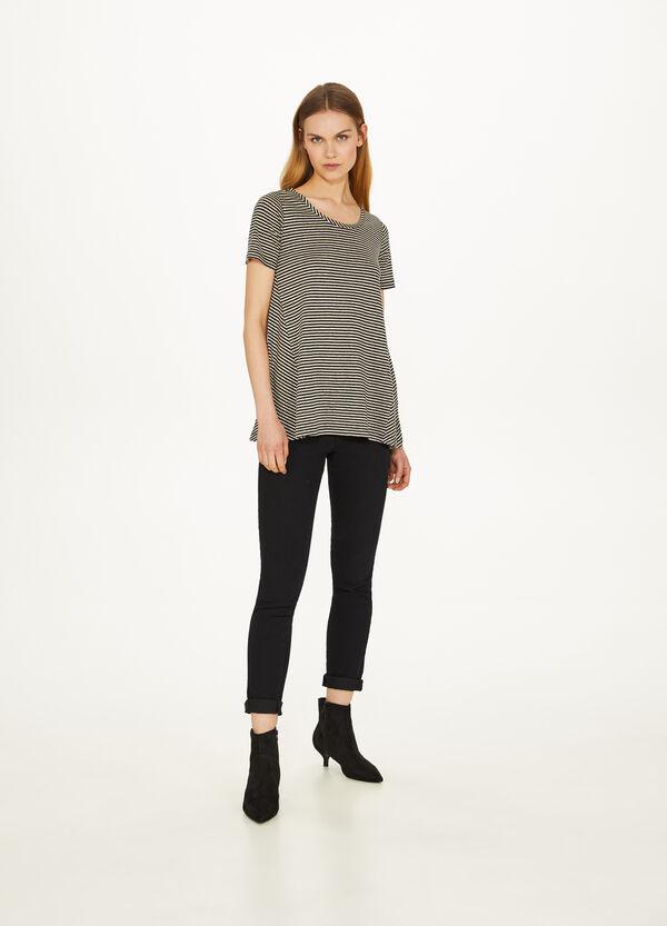 T-Shirt gestreift aus Baumwolle und Leinen