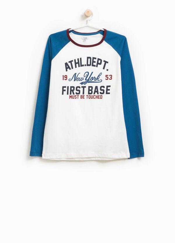 T-Shirt aus reiner Baumwolle mit Buchstabenaufdruck | OVS