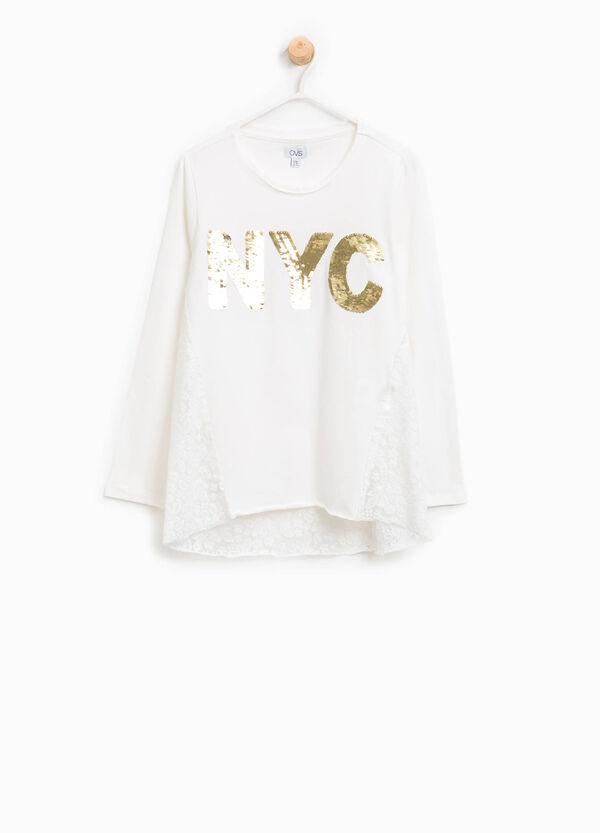 T-Shirt aus Baumwolle mit Spitze und Pailletten | OVS