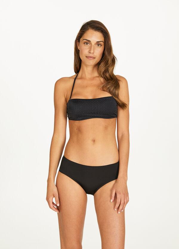 Bandeau-Bikini-Oberteil mit Nieten