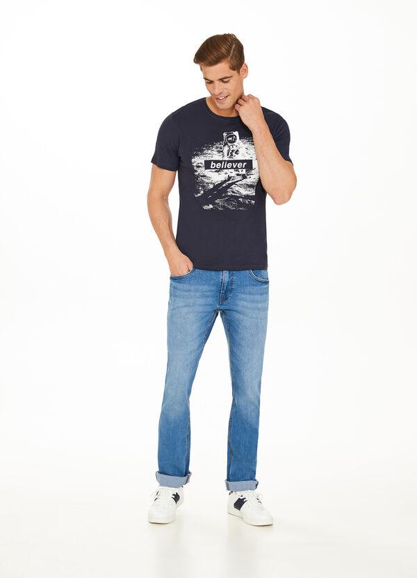 T-Shirt aus Baumwolle mit Buchstabenaufdruck