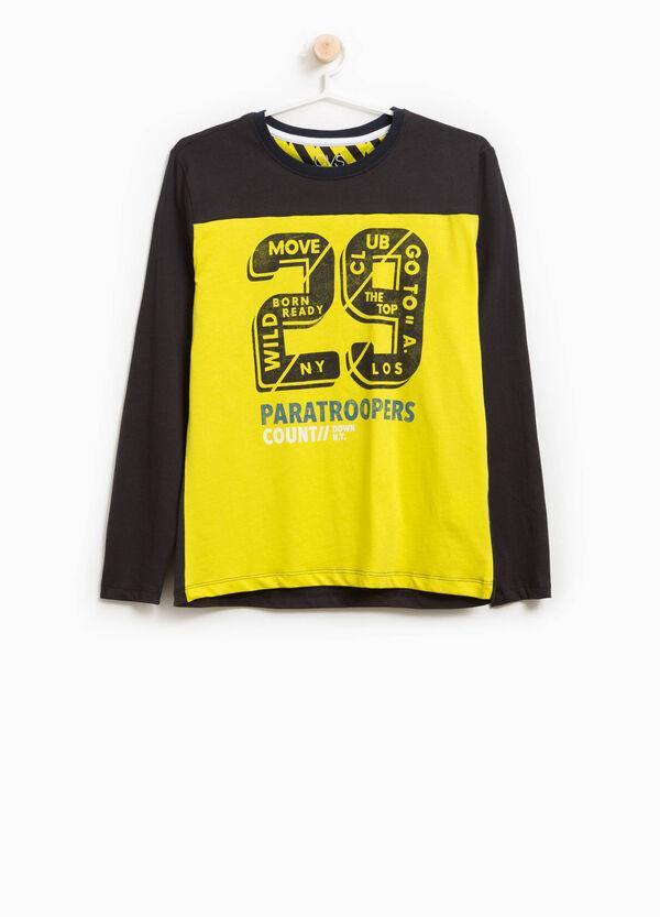 T-Shirt aus Baumwolle zweifarbig mit Aufdruck Lettering | OVS