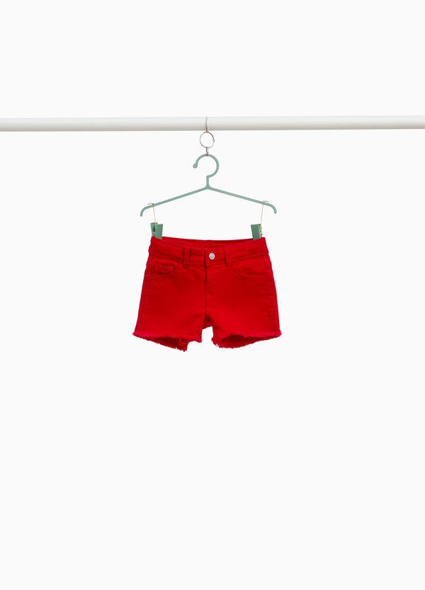 Einfarbige Jeans -Shorts mit Spitze