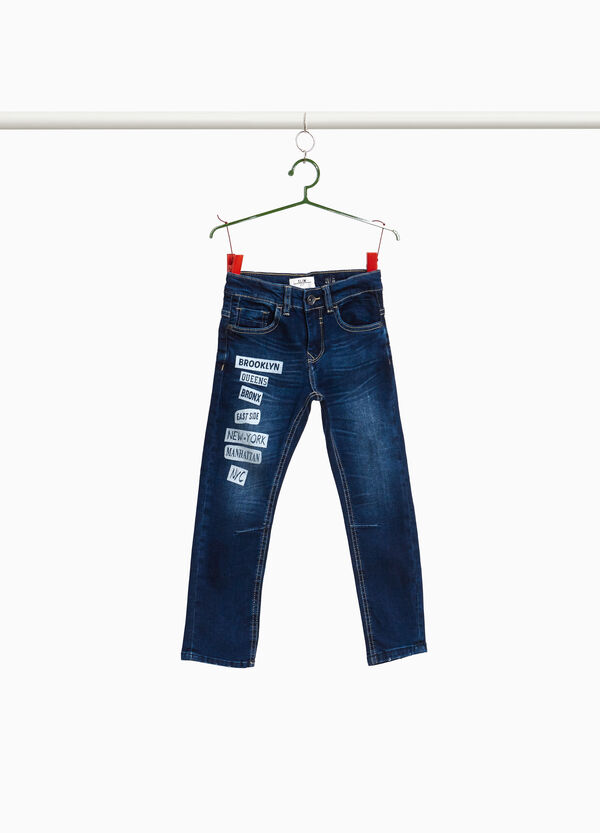 Stretch-Jeans mit Print Lettering