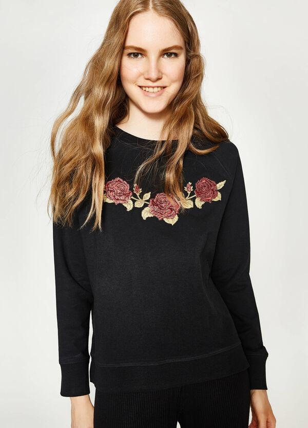 Sweatshirt aus reiner Baumwolle mit Stickerei | OVS