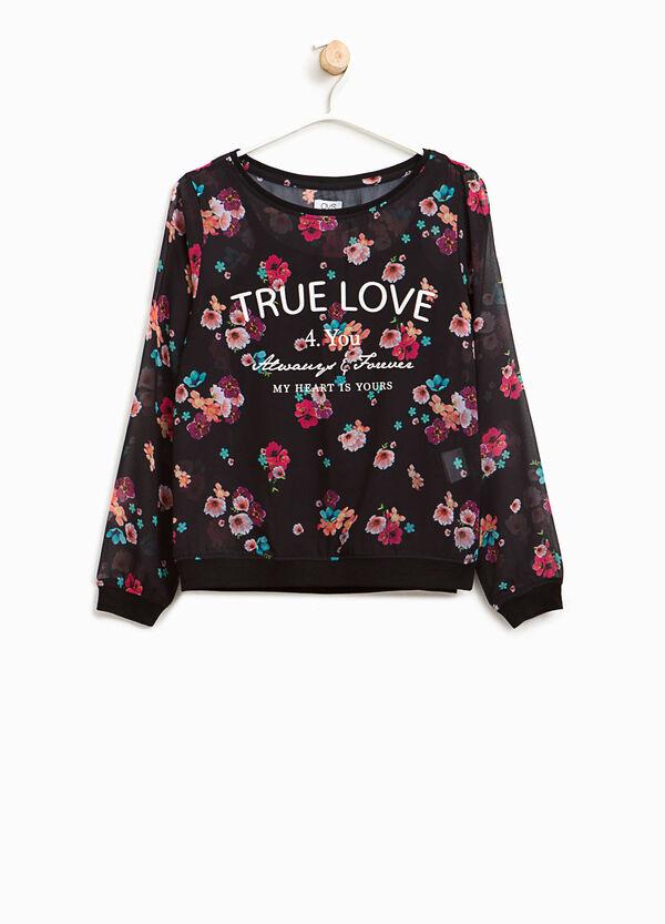 T-Shirt halb transparent Blumen | OVS