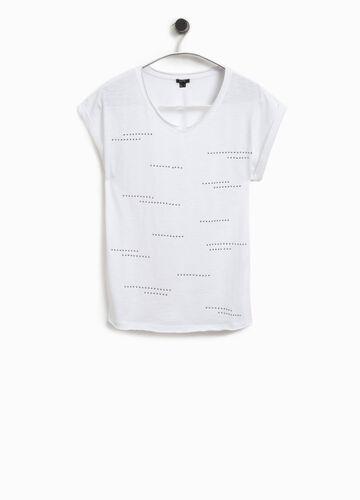 T-Shirt mit Nieten aus Baumwolle Smart Basic