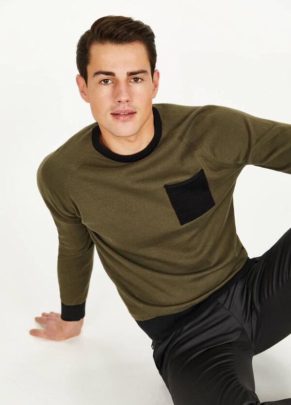 Pullover aus reiner Baumwolle mit Tasche