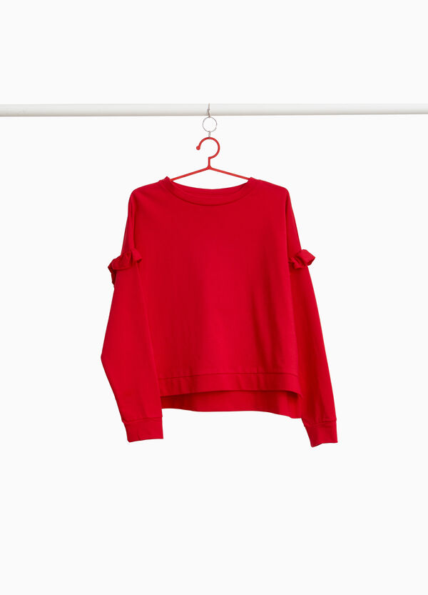 Sweatshirt reine Baumwolle mit Volant