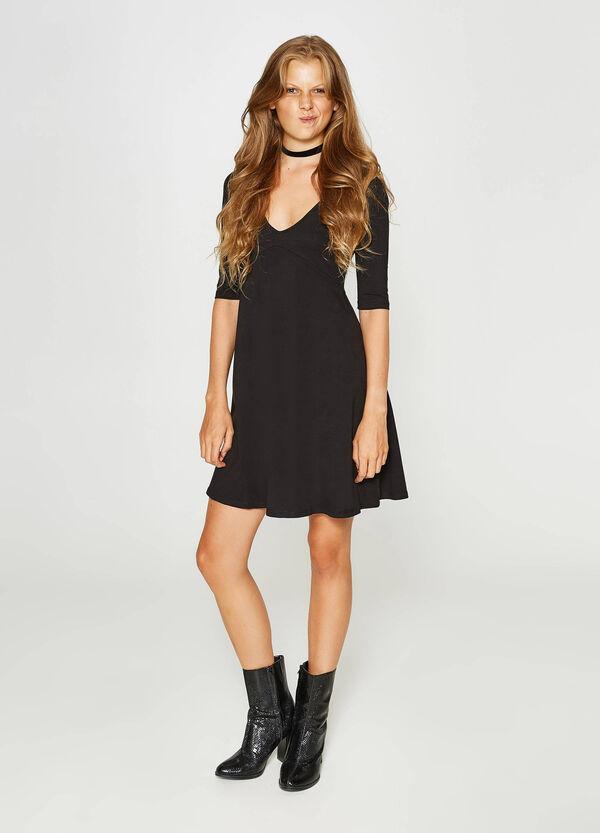 Kleid aus Baumwollstretch V-Ausschnitt | OVS