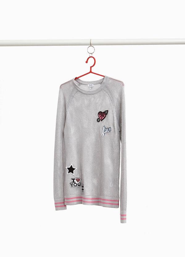 Pullover mit Patch und Pailletten