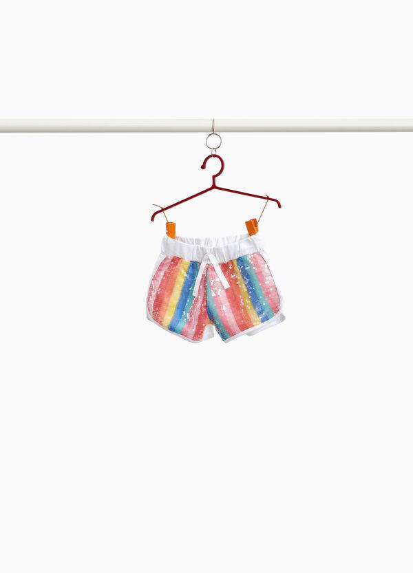 Gestreifte Shorts aus Baumwolle mit Pailletten