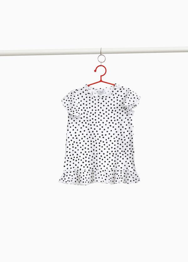 T-Shirt Baumwollstretch getupft und Volant