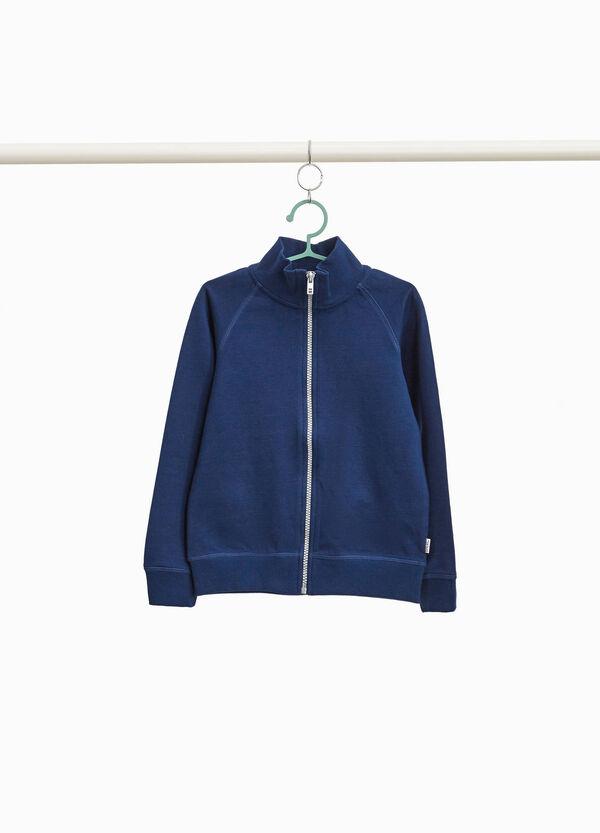 Sweatshirt aus reiner Baumwolle Stehkragen und Reißverschluss