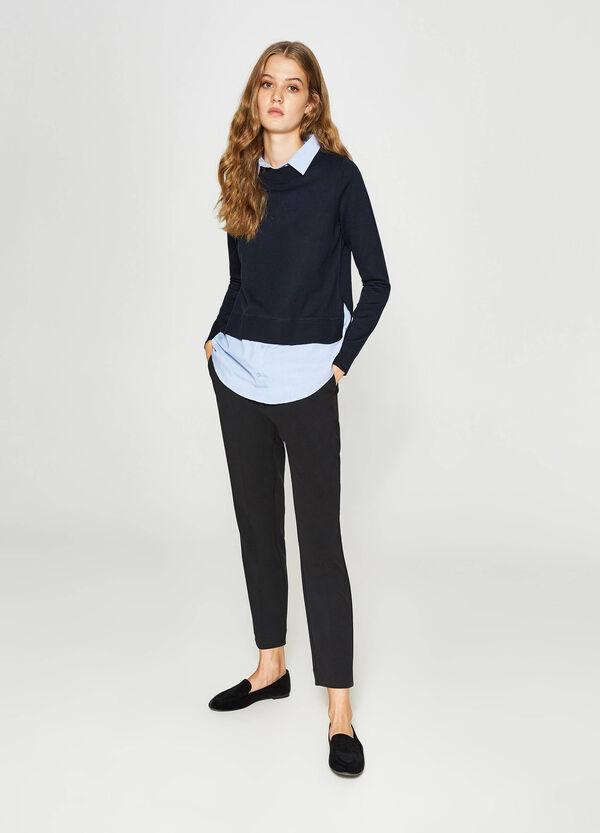Crop-Pullover Baumwolle mit Schlitzen   OVS