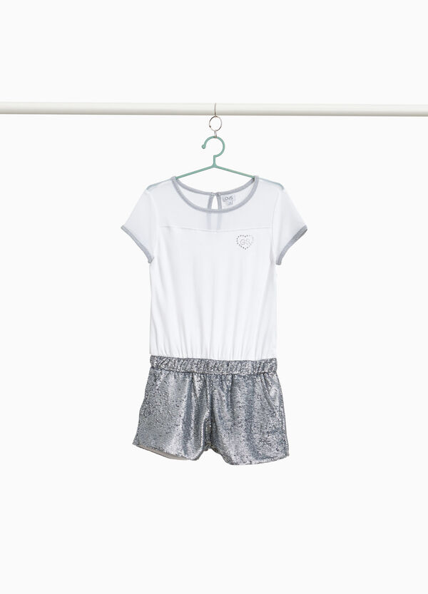 Hosen-Kleidchen Baumwollstretch Pailletten
