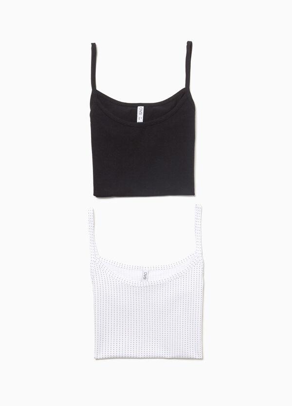 Set zwei Unterhemd-Tops, einfarbig und gemustert
