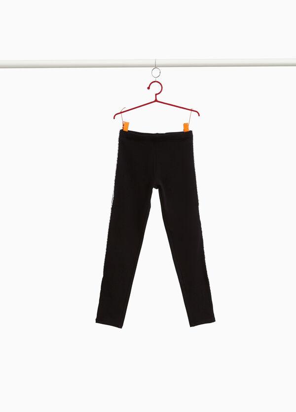 Leggings Baumwolle mit Glitter-Streifen