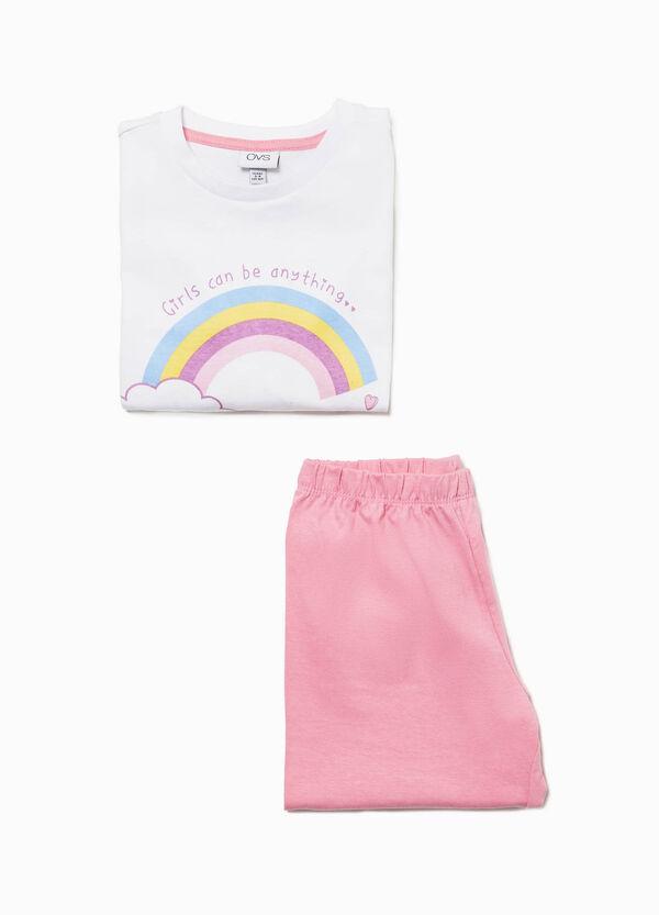 Pyjama Baumwolle Aufdruck Regenbogen