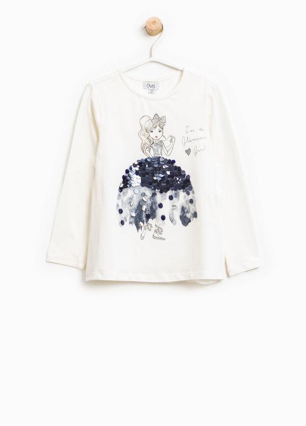 T-Shirt aus Baumwolle mit Aufdruck und Pailletten   OVS